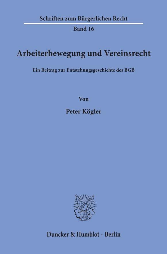 Cover Arbeiterbewegung und Vereinsrecht