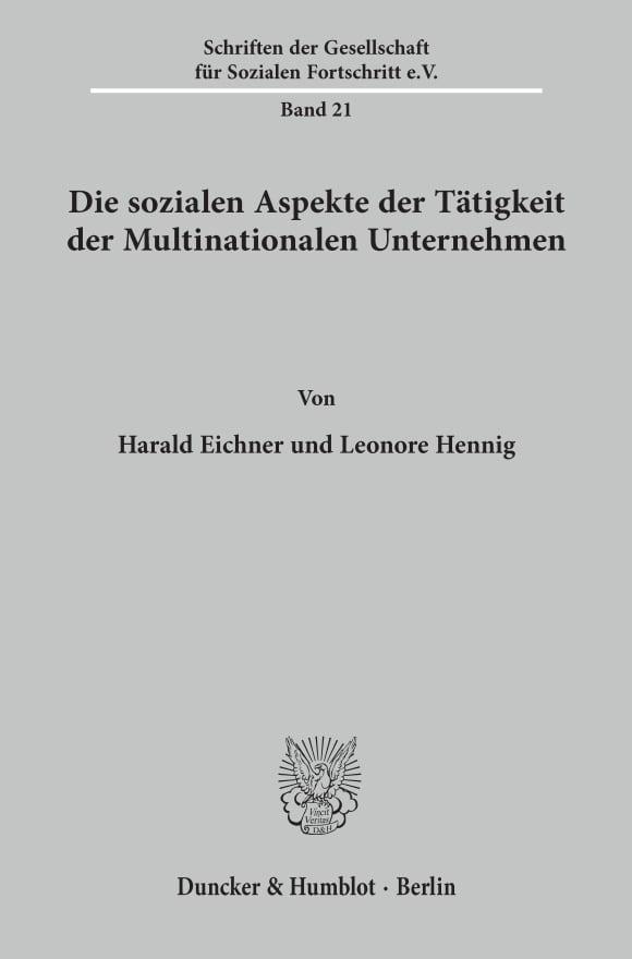 Cover Die sozialen Aspekte der Tätigkeit der Multinationalen Unternehmen