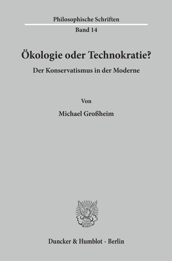 Cover Ökologie oder Technokratie?
