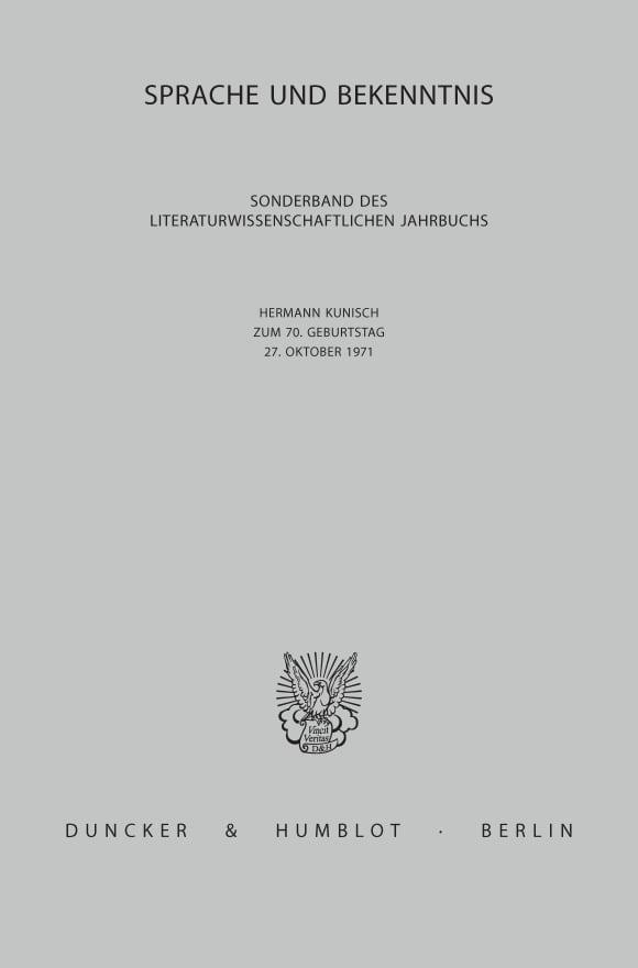 Cover Sprache und Bekenntnis