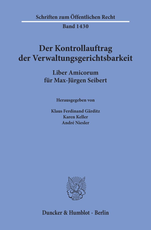 Cover Der Kontrollauftrag der Verwaltungsgerichtsbarkeit