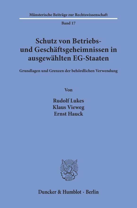 Cover Schutz von Betriebs- und Geschäftsgeheimnissen in ausgewählten EG-Staaten