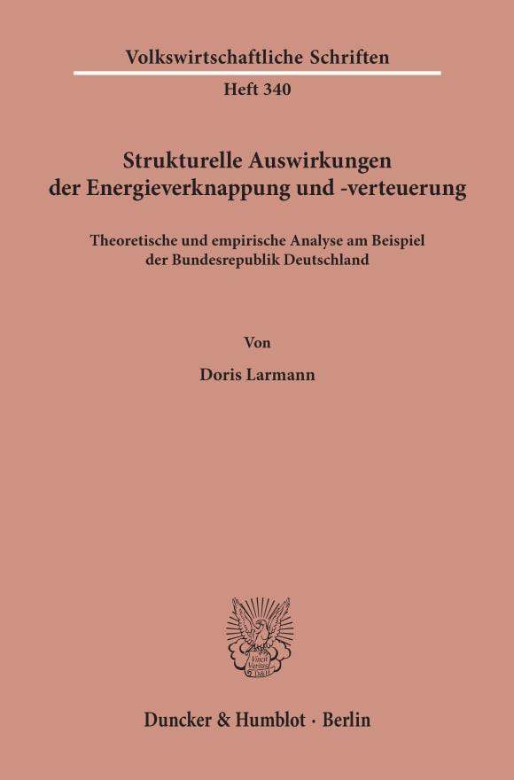 Cover Strukturelle Auswirkungen der Energieverknappung und -verteuerung