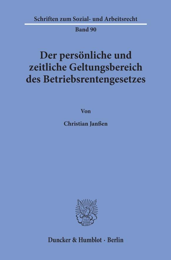 Cover Der persönliche und zeitliche Geltungsbereich des Betriebsrentengesetzes