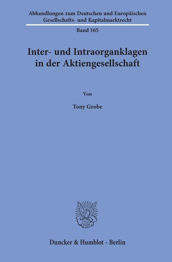 Cover Inter- und Intraorganklagen in der Aktiengesellschaft