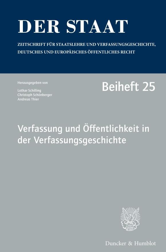 Cover Verfassung und Öffentlichkeit in der Verfassungsgeschichte