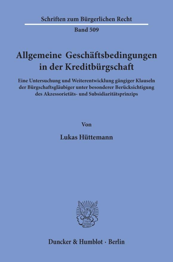 Cover Allgemeine Geschäftsbedingungen in der Kreditbürgschaft