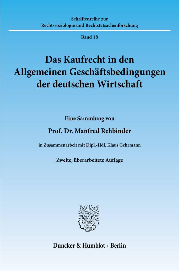 Cover Das Kaufrecht in den Allgemeinen Geschäftsbedingungen der deutschen Wirtschaft