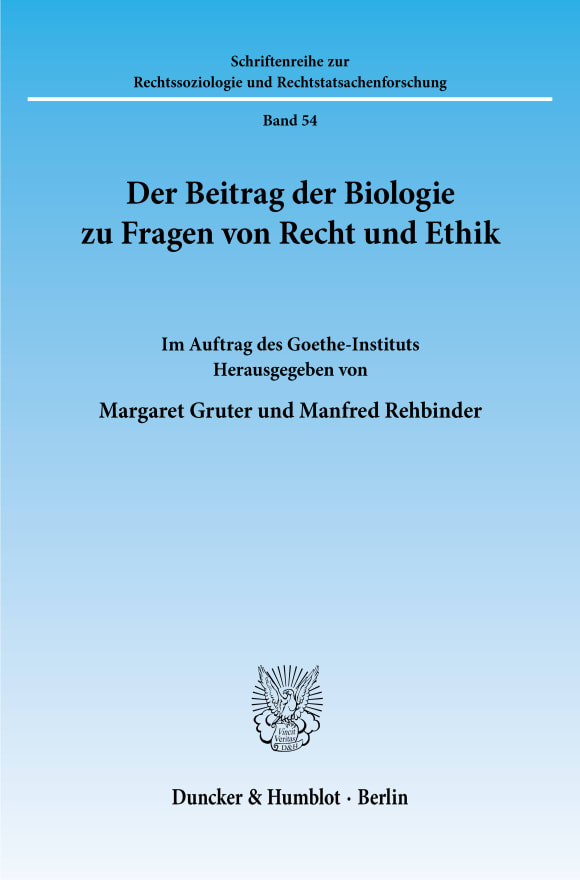 Cover Der Beitrag der Biologie zu Fragen von Recht und Ethik