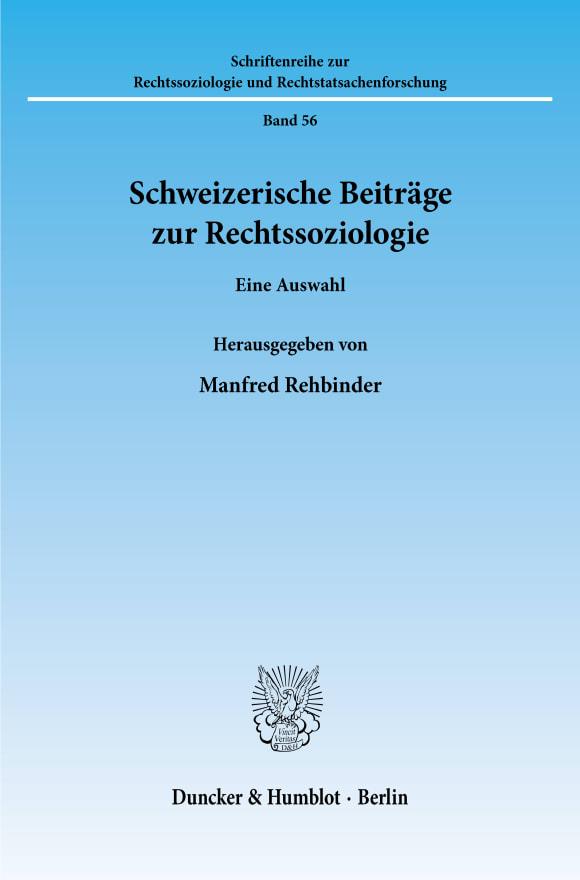 Cover Schweizerische Beiträge zur Rechtssoziologie