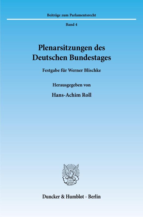 Cover Plenarsitzungen des Deutschen Bundestages