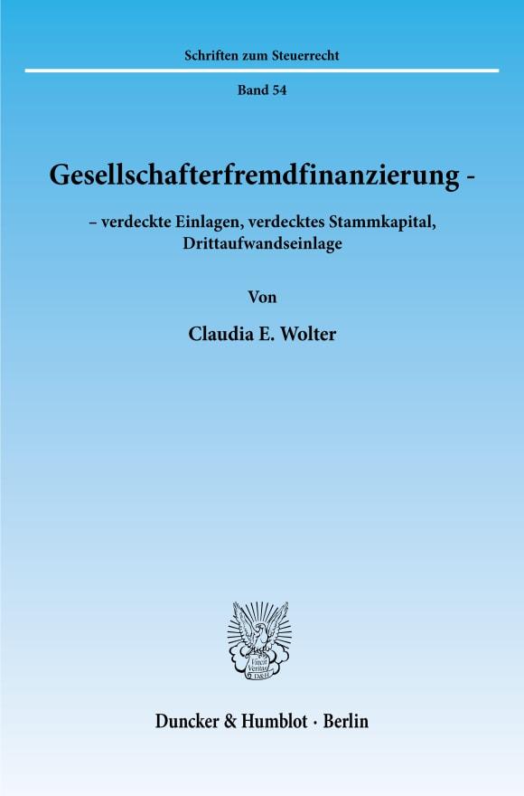 Cover Gesellschafterfremdfinanzierung -