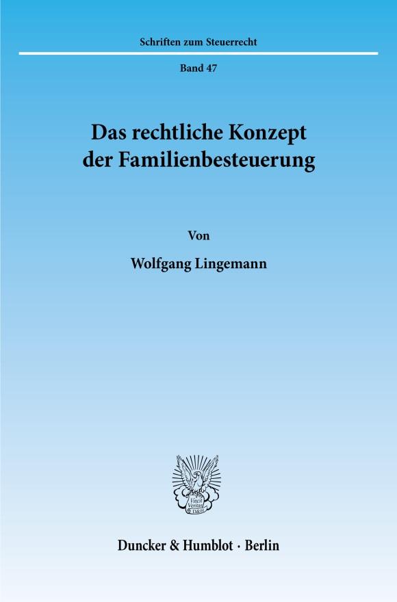 Cover Das rechtliche Konzept der Familienbesteuerung