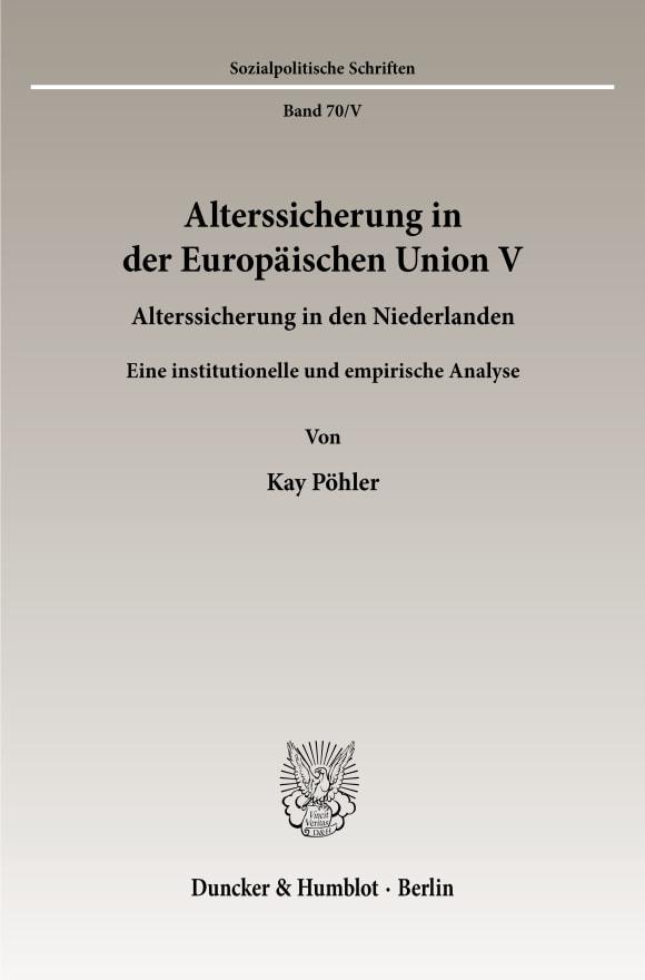Cover Alterssicherung in der Europäischen Union V