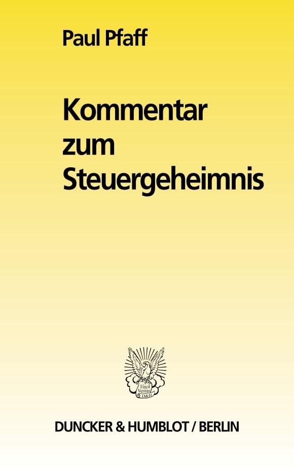 Cover Kommentar zum Steuergeheimnis