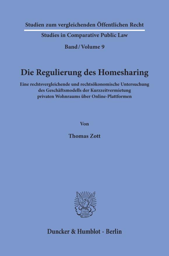 Cover Die Regulierung des Homesharing