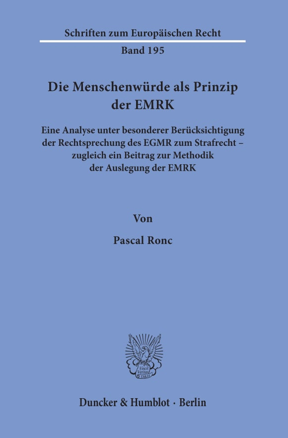 Cover Die Menschenwürde als Prinzip der EMRK