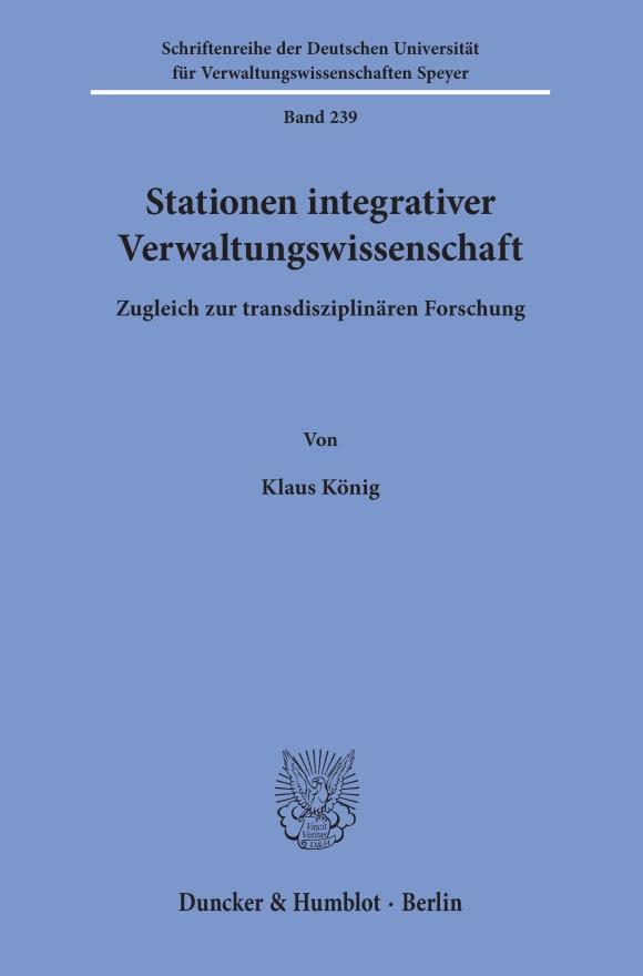 Cover Stationen integrativer Verwaltungswissenschaft