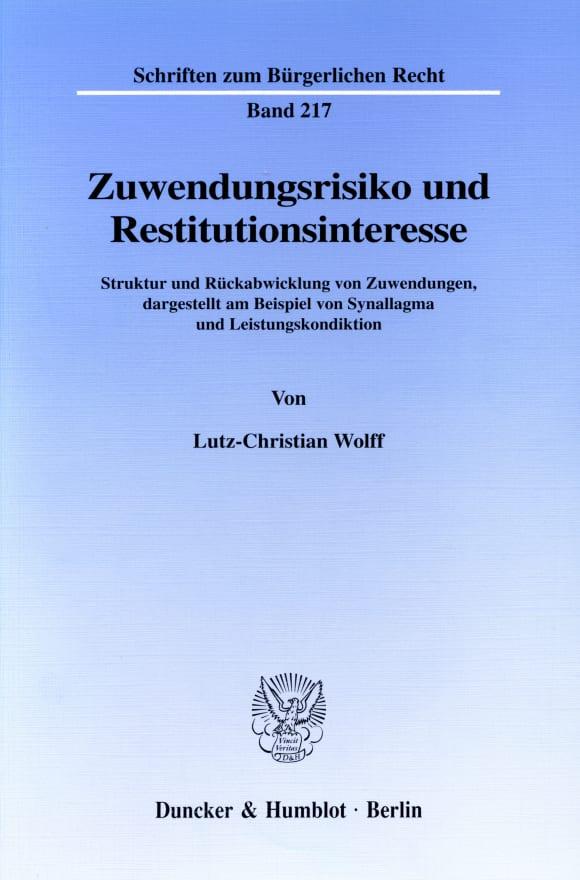 Cover Zuwendungsrisiko und Restitutionsinteresse