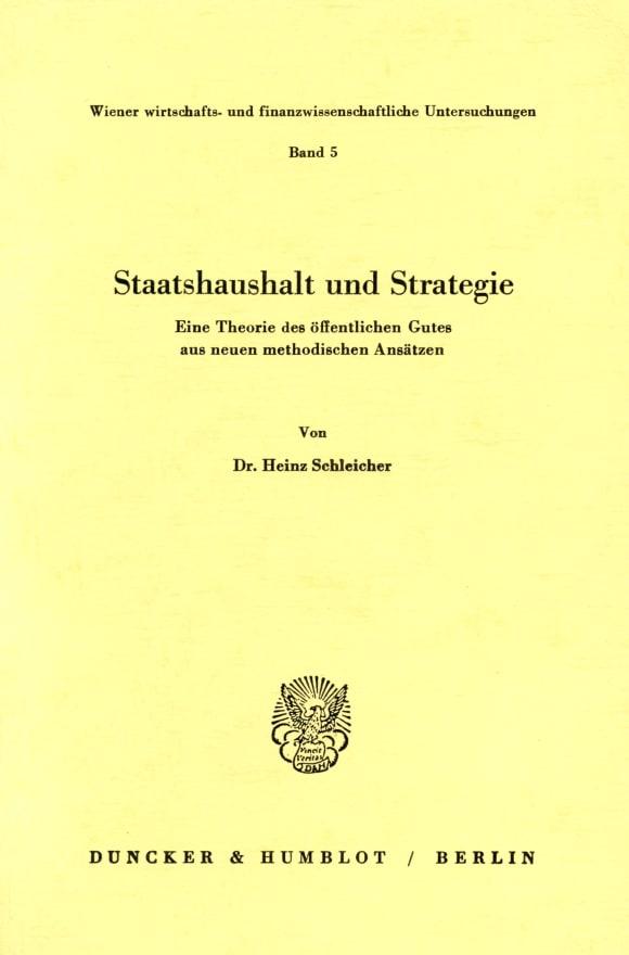 Cover Staatshaushalt und Strategie