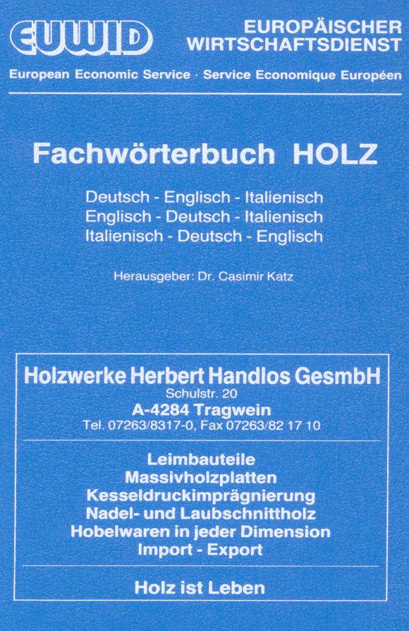 Cover Fachwörterbuch HOLZ