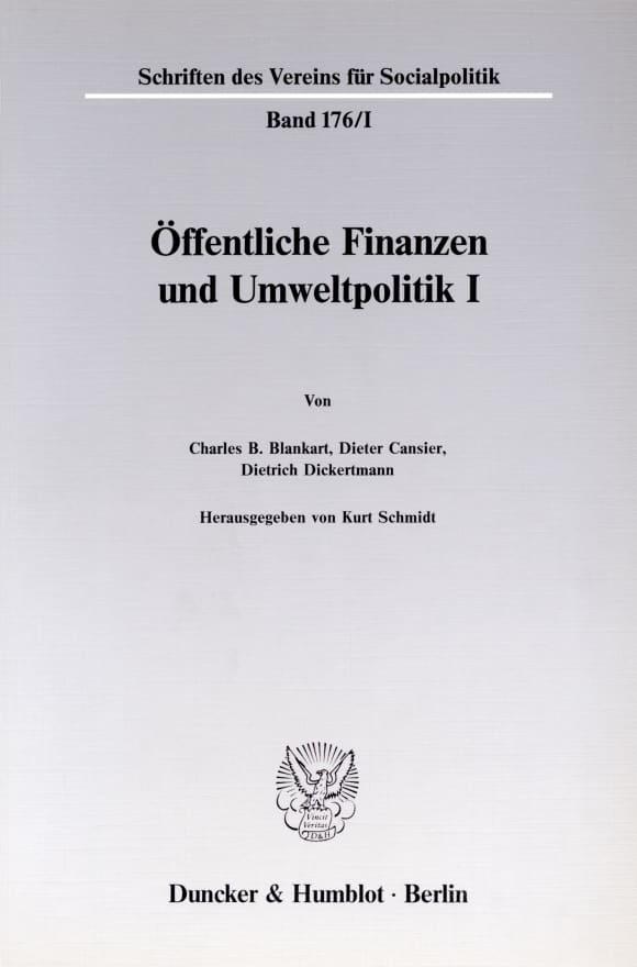 Cover Öffentliche Finanzen und Umweltpolitik I