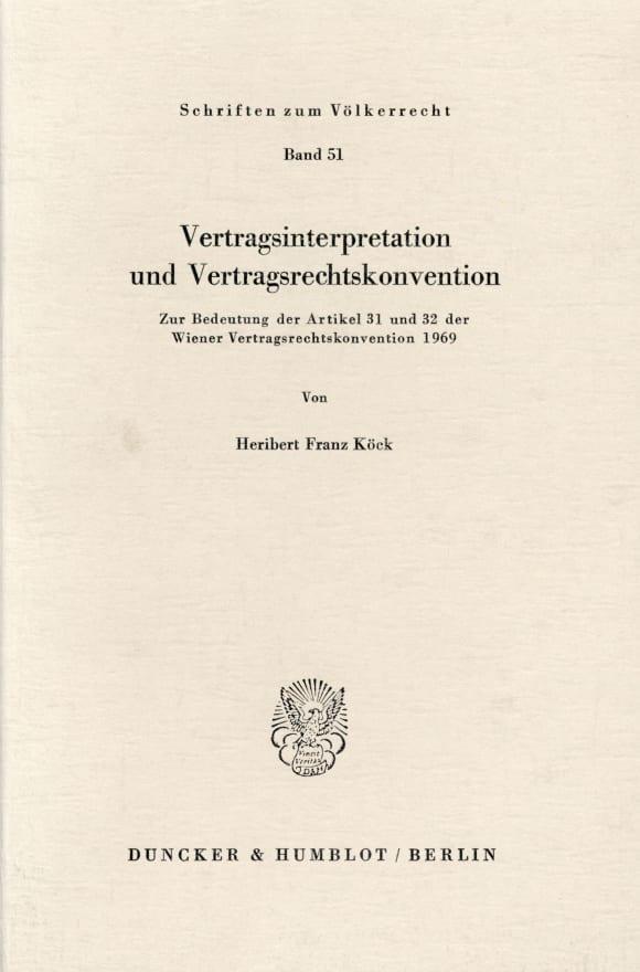 Cover Vertragsinterpretation und Vertragsrechtskonvention