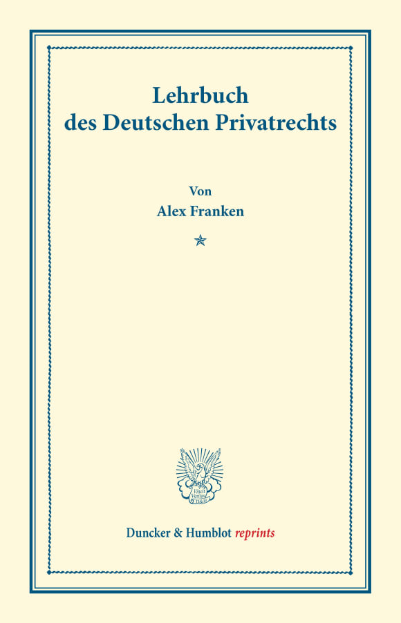 Cover Lehrbuch des Deutschen Privatrechts