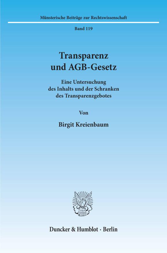Cover Transparenz und AGB-Gesetz