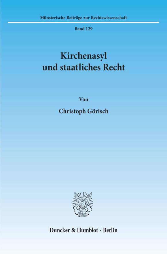Cover Kirchenasyl und staatliches Recht