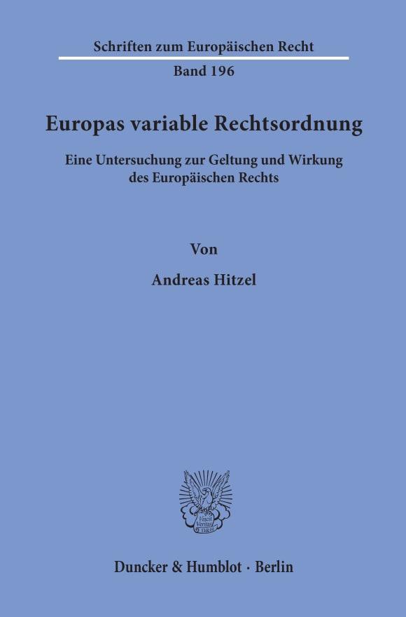 Cover Europas variable Rechtsordnung