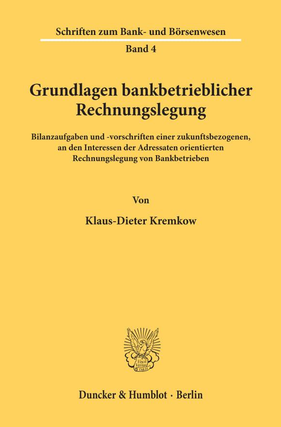 Cover Grundlagen bankbetrieblicher Rechnungslegung