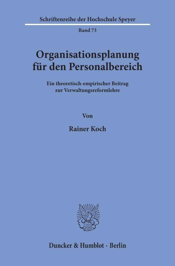 Cover Organisationsplanung für den Personalbereich