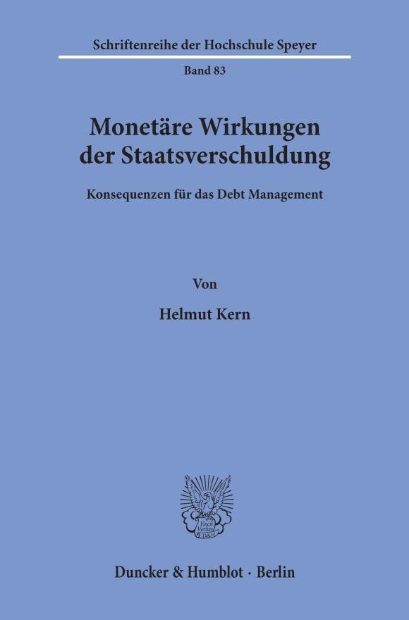 Cover Monetäre Wirkungen der Staatsverschuldung