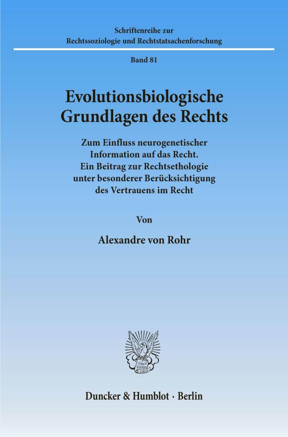 Cover Evolutionsbiologische Grundlagen des Rechts
