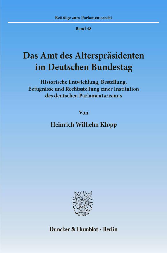 Cover Das Amt des Alterspräsidenten im Deutschen Bundestag