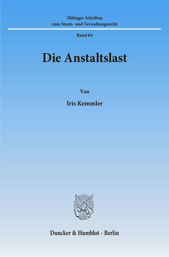 Cover Die Anstaltslast