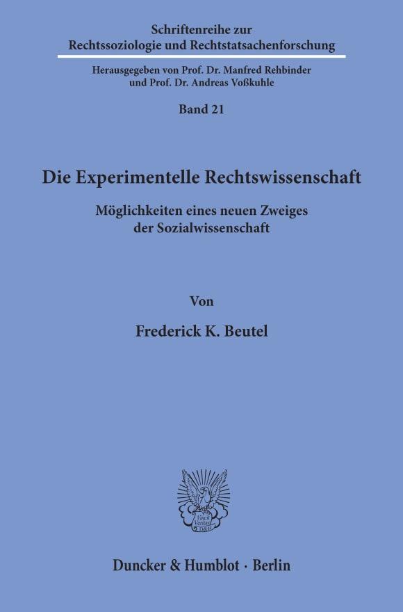 Cover Die Experimentelle Rechtswissenschaft
