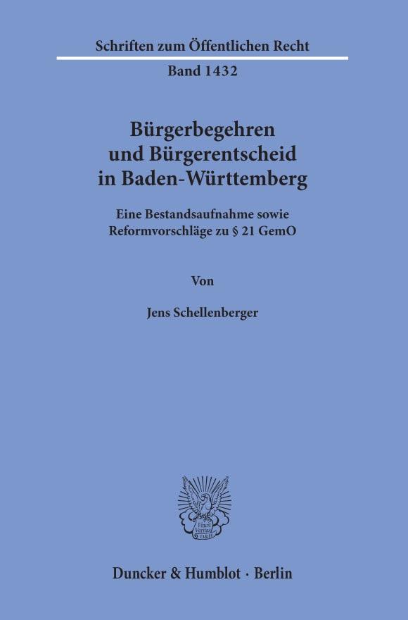 Cover Bürgerbegehren und Bürgerentscheid in Baden-Württemberg