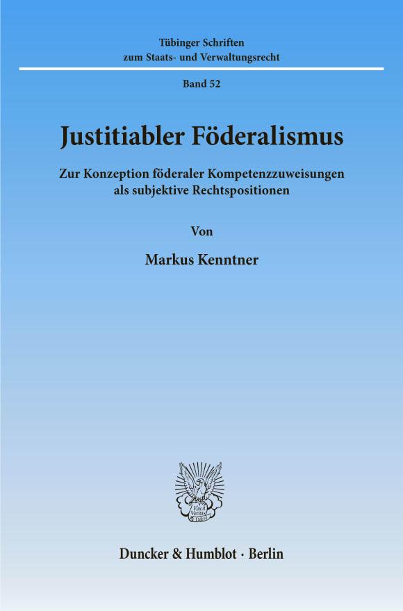 Cover Justitiabler Föderalismus