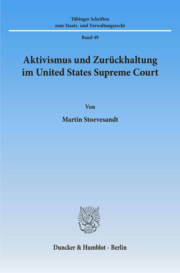Cover Aktivismus und Zurückhaltung im United States Supreme Court