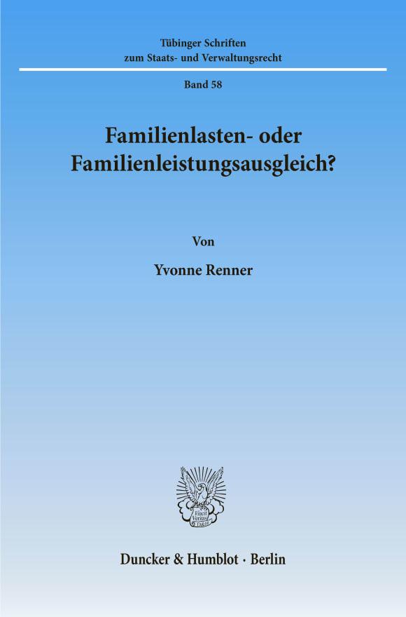 Cover Familienlasten- oder Familienleistungsausgleich?