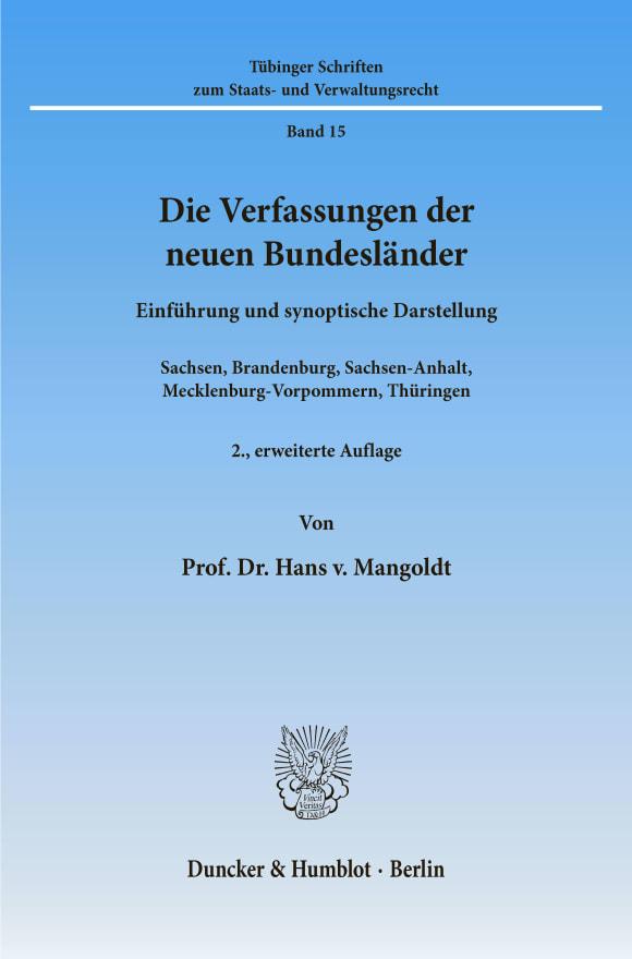 Cover Die Verfassungen der neuen Bundesländer