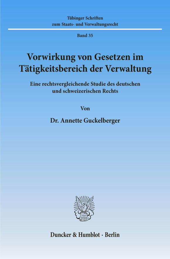 Cover Vorwirkung von Gesetzen im Tätigkeitsbereich der Verwaltung