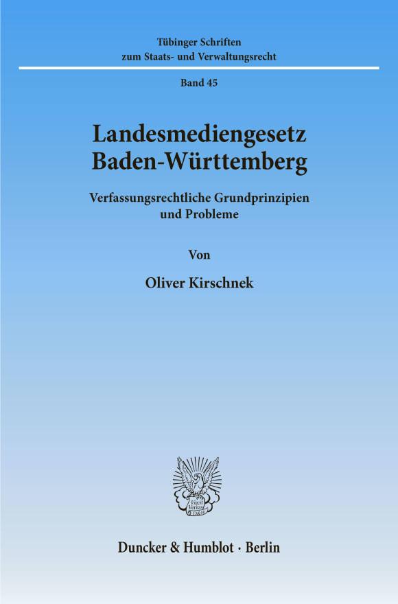 Cover Landesmediengesetz Baden-Württemberg