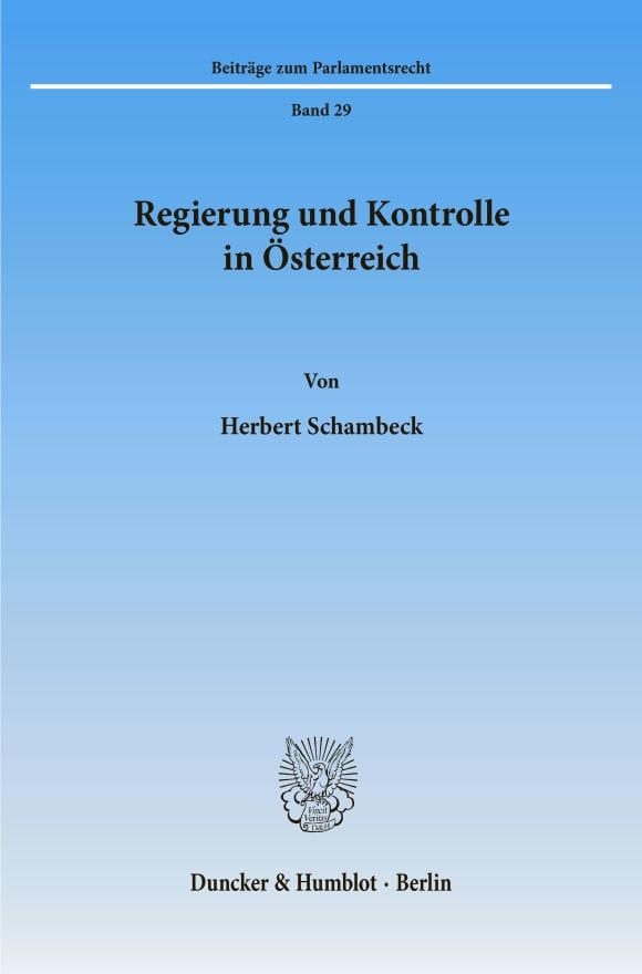 Cover Regierung und Kontrolle in Österreich