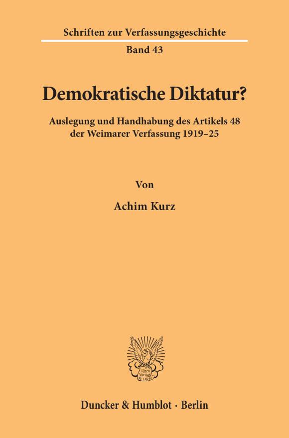 Cover Demokratische Diktatur?