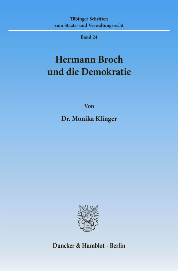 Cover Hermann Broch und die Demokratie