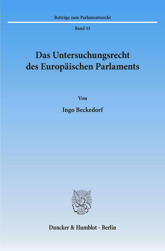 Cover Das Untersuchungsrecht des Europäischen Parlaments