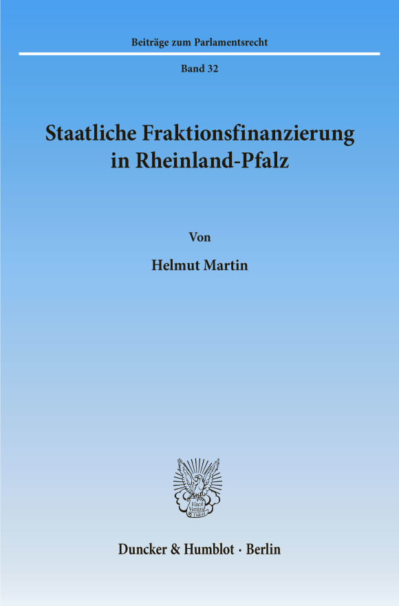 Cover Staatliche Fraktionsfinanzierung in Rheinland-Pfalz